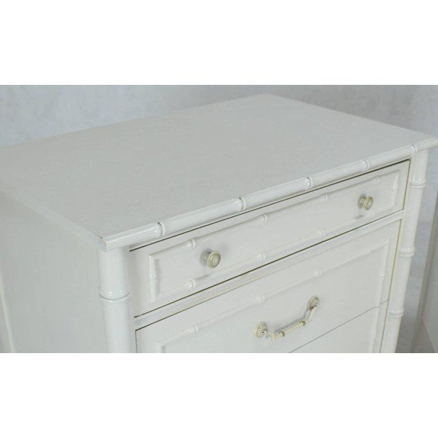 Mid-century modern white lacquer faux bamboo large nightstands or bachelor chest. Solid brass hardware.