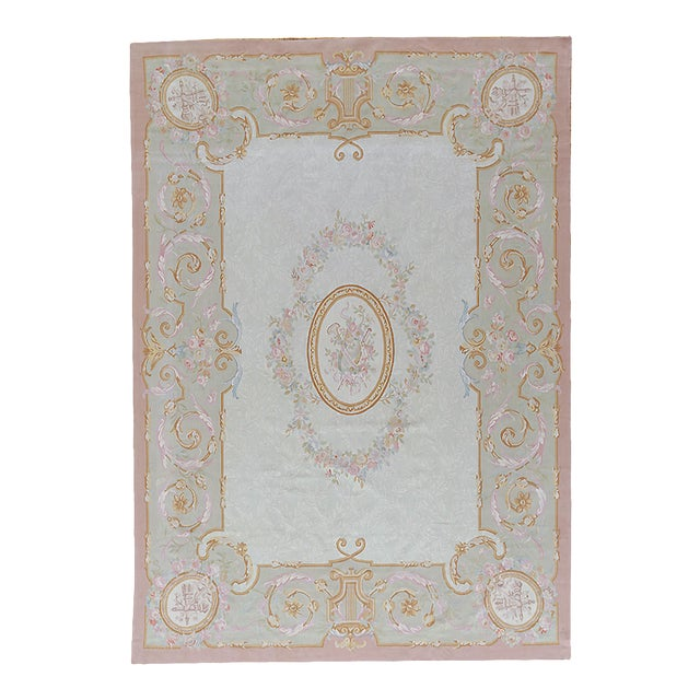 """Pasargad Aubusson Hand Woven Wool Rug - 8' 9"""" X 12' 3"""" For Sale"""