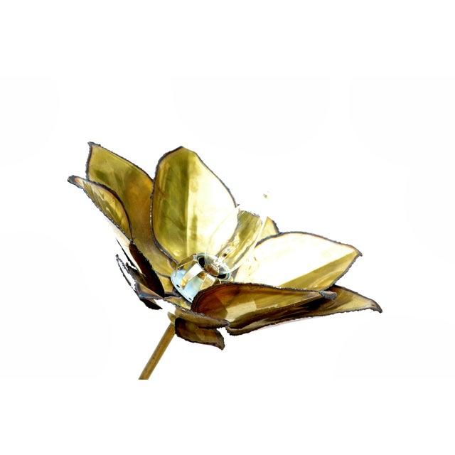 Metal Maison Jansen French Mid-Century Modern 3 Light Cut Brass Flower Table Lamp For Sale - Image 7 of 13