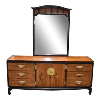 Lane Chinoiserie 9 Drawer Dresser With Mirror For Sale