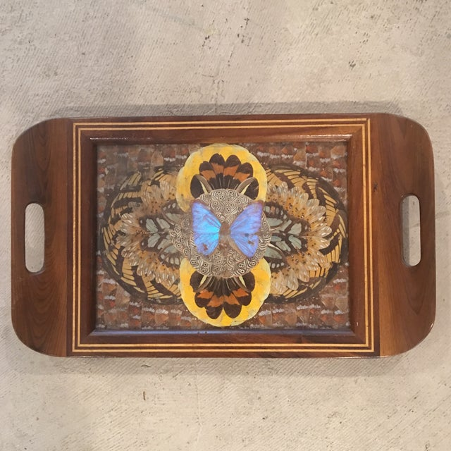 Yellow 1940's Art Deco Real Butterfly Wing Inlay Tray Platter For Sale - Image 8 of 8