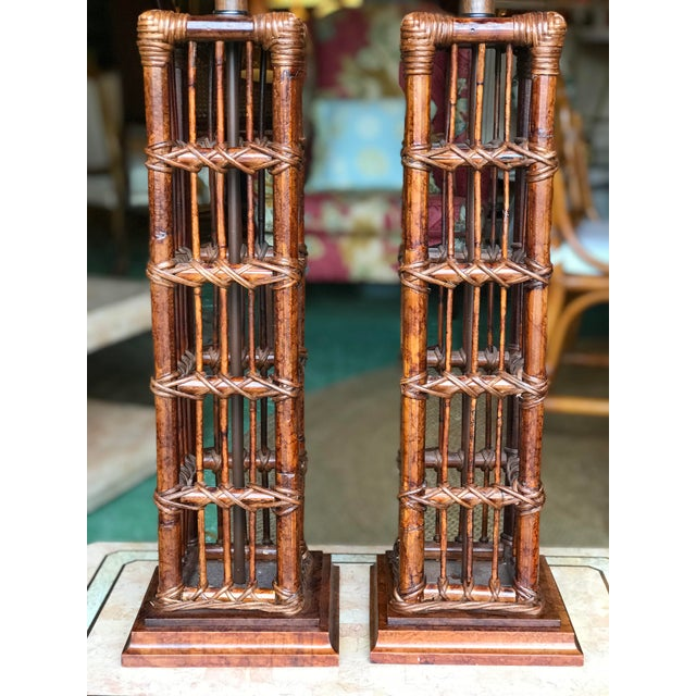 2000 - 2009 Island Style Coastal Regency Rattan Lamps-A Pair For Sale - Image 5 of 9