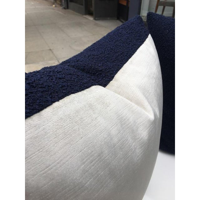 Textile Custom Navy Curly Boucle Pillows - A Pair For Sale - Image 7 of 8