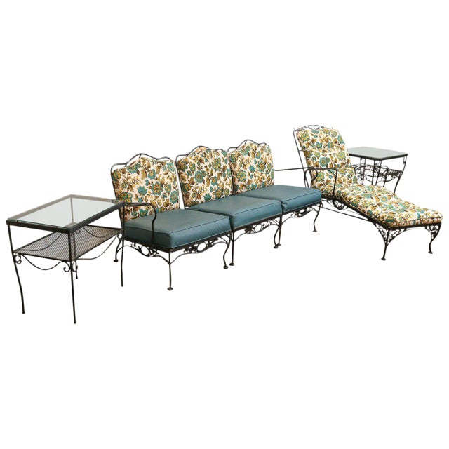 9 Piece Mid Century Wrought Iron Patio or Garden Set by Russell Woodard - Image 1 of 8