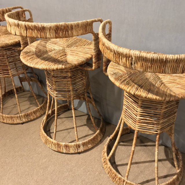 2000s Nautical Cane Woven Bar Stools - Set of 3 For Sale - Image 5 of 11