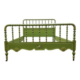 Antique Stihl Custom Farmhouse Painted Green Floral Bed Frame
