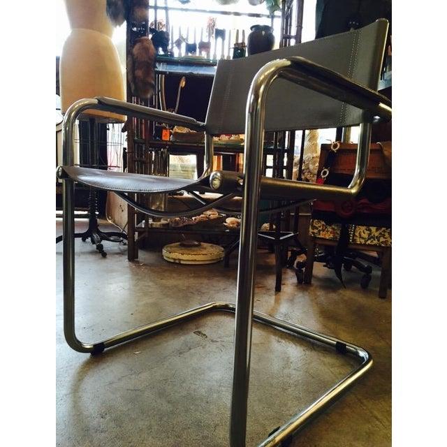 Italian Smoky Grey Leather Sling Chrome Chair - Image 5 of 10