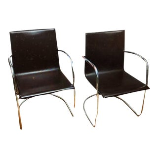 1980s Matteo Grassi Brown Leather and Chrome Chairs- A Pair For Sale