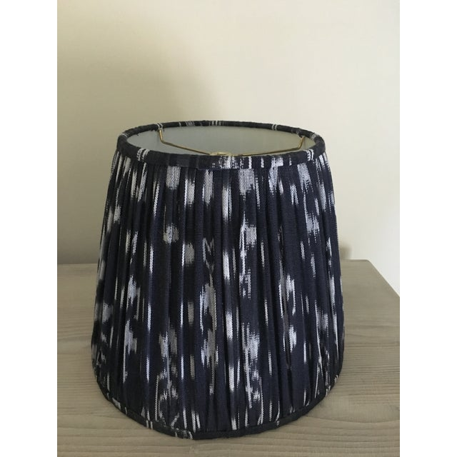 Shirred Indigo Ikat Lampshades - A Pair - Image 6 of 8