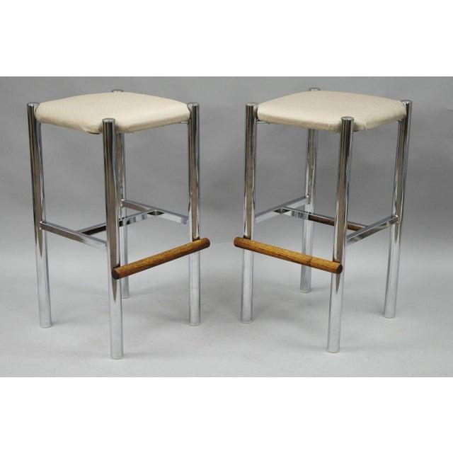Pair Mid Century Modern Chrome & Oak Wood Barstools Bar Stools Vtg Baughman Era - Image 2 of 11