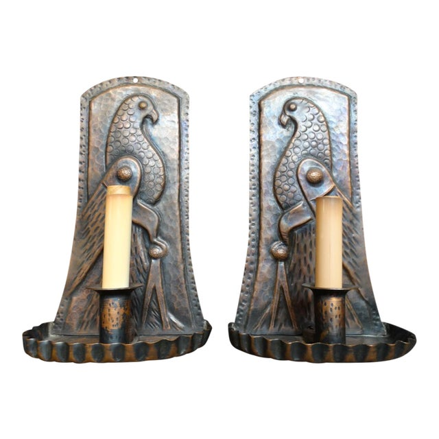 Arts & Crafts Hand Wrought Copper Sconce With Bird Motif - a Pair For Sale