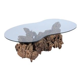 Organic Burl Wood Freeform Coffee Table For Sale