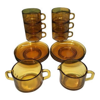 Vereco France Mid Century Modern Amber Glass Cup and Saucer Tea Coffee Set - 14 Pieces For Sale
