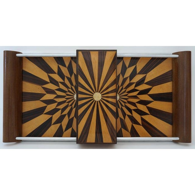 Art Deco Art Deco 1920s Paul Giordano Paris Serving Tray Exotic Wood Parquet For Sale - Image 3 of 12