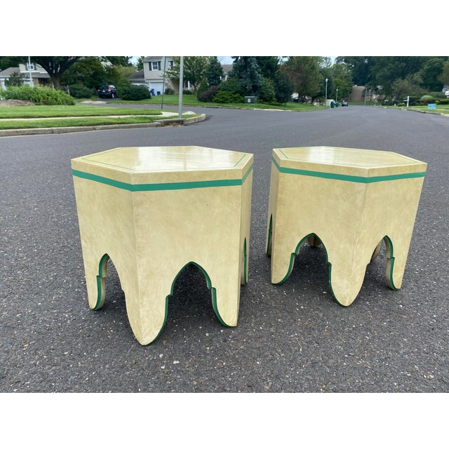 Very unique and stylish pair of designer Moroccan side tables, acquired from a high end Italian estate in New Jersey.