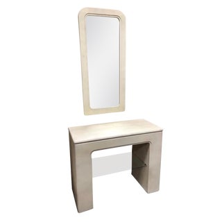 1970s Minimilist Entry Table and Mirror by Basset - 2 Pieces For Sale