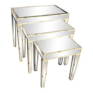 Mirrored Nesting Tables - Set of 3 For Sale