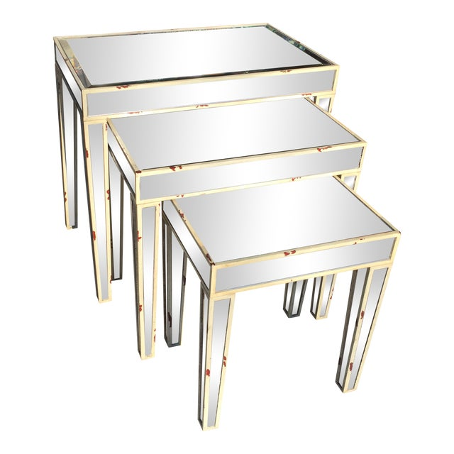 Mirrored Nesting Tables - Set of 3 - Image 1 of 7