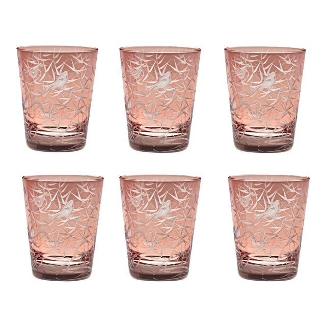 Finch Single Old Fashioned Glasses, Set of 6, Salmon For Sale