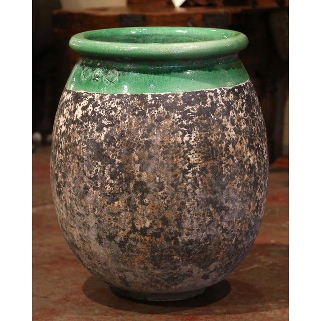 Green Large French Terracotta Olive Jar With Green Glazed Neck From Provence For Sale - Image 8 of 8