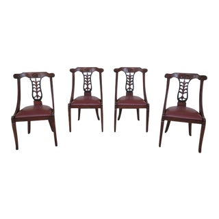 Italian Leather Seat Dining Room Chairs - Set of 4 For Sale
