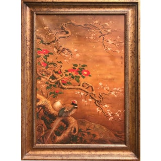 Chinoiserie Painting of Pheasants & Cherry Blossoms For Sale
