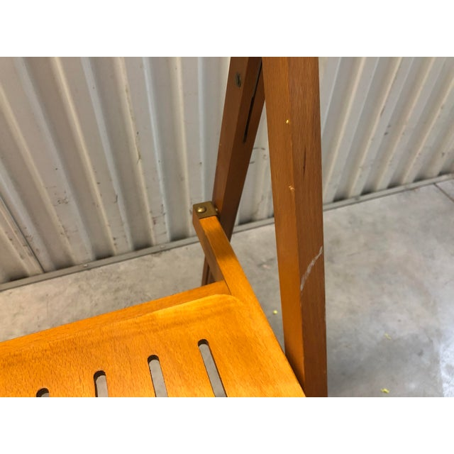 1960s Vintage Danish Romanian Wood Folding Dining Chair For Sale In Tampa - Image 6 of 11