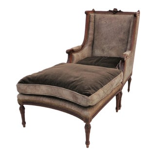 19th Century Louis XVI Wing Chair & Ottoman - A Pair
