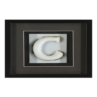 Framed Vintage Glass Letter C Sign For Sale