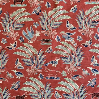 Quadrille China Seas Malay Batik Red and Blue Linen Printed Fabric- 2 Yards For Sale