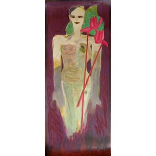 Woman in Gown With Flowers by Elvira Bach For Sale