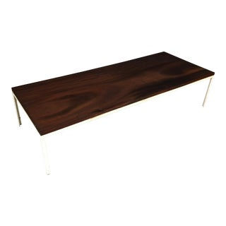 Mid Century Walnut Coffee Table with Metal Frame For Sale