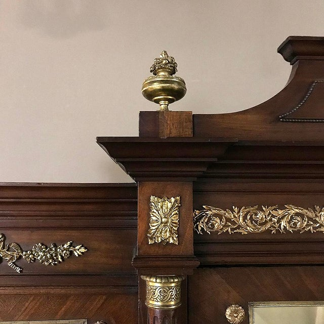Metal 19th Century French Louis XVI Mahogany Armoire With Ormolu For Sale - Image 7 of 13