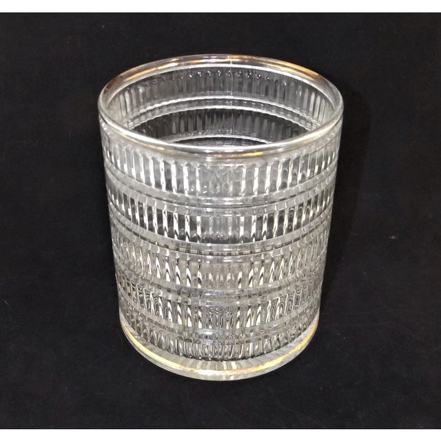 Vintage Art Deco Clear Pattern Glass Ice Bucket For Sale - Image 5 of 5