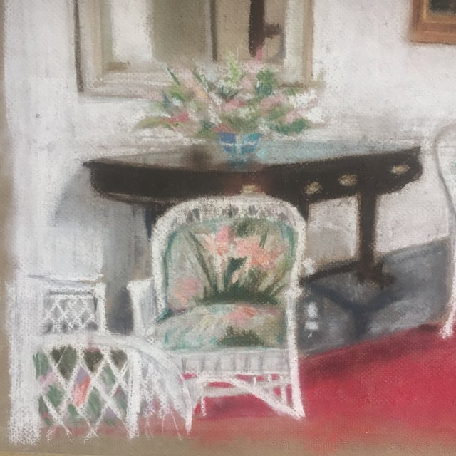 Vintage Original Impressionist Pastel Interior