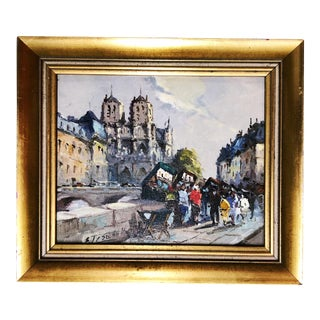 Vintage Parisian Impressionist Oil Painting of Notre Dame For Sale