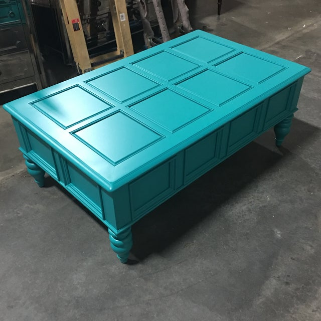 Custom Turquoise Cocktail Table by Bassett - Image 4 of 5