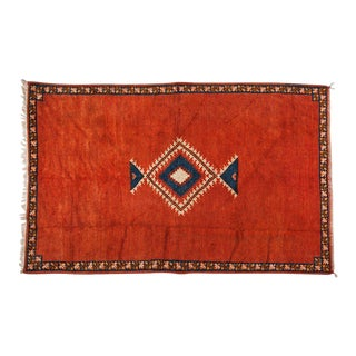 Berber Rug - Tribal Handwoven Wool With Diamond on Red Background For Sale