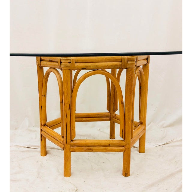 Vintage Bent Rattan & Glass Table For Sale - Image 9 of 12