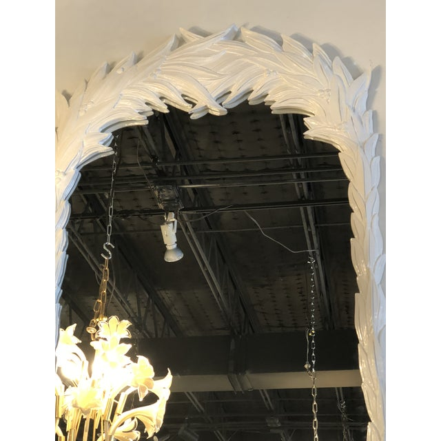 Vintage Hollywood Regency White Lacquered Leaf Wall Mirror For Sale - Image 10 of 11