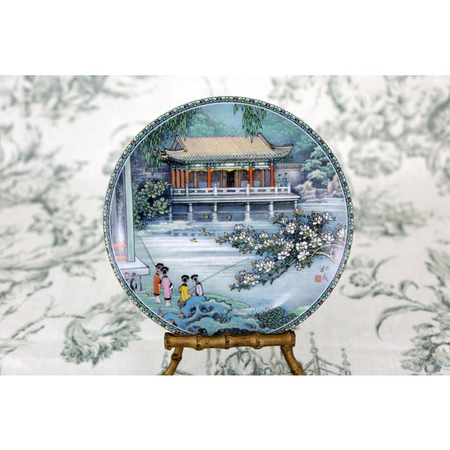 """White """"Scenes From the Summer Palace"""" Imperial Jingdezhen Porcelain Collector Plates - Set of 7 For Sale - Image 8 of 13"""