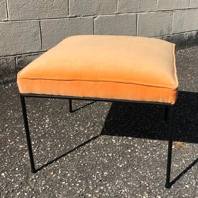 Metal Iron & Orange Velvet Upholstered Stool by Paul McCobb For Sale - Image 7 of 7