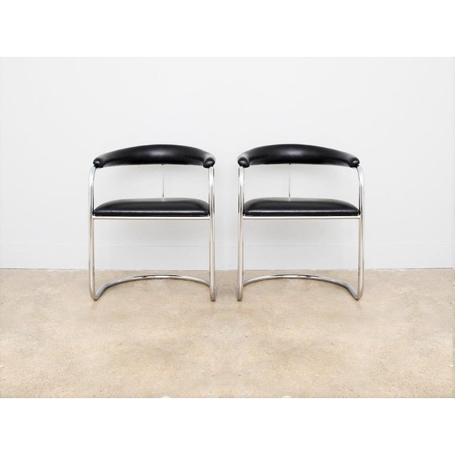 Mid-Century Modern Set of Four Black Anton Lorenz for Thonet Chrome Chairs For Sale - Image 3 of 6