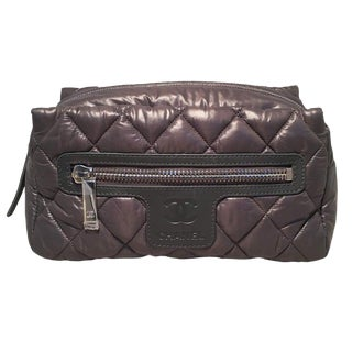 Chanel Grey Quilted Nylon Travel Accessories Cosmetic Pouch For Sale
