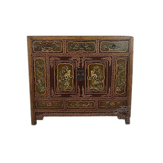 Hand Painted Oriental Rustic Chest For Sale