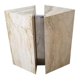 Italian Postmodern Travertine and Chrome Console / Dining Table Base. For Sale