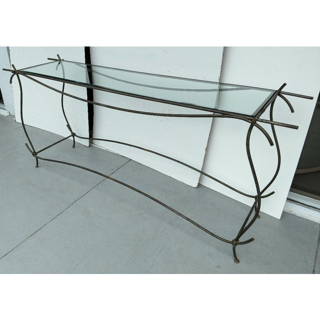 Contemporary Wrought Iron and Glass Console Table, Vintage For Sale - Image 3 of 13