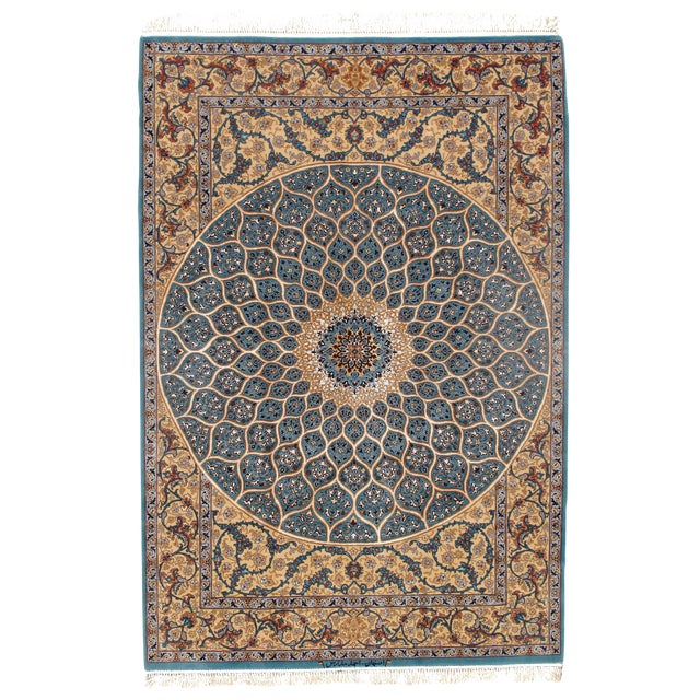 Pasargad Persian Isfahan Korker Wool & Silk Highlighted Rug - 5′0″ × 7′5″ For Sale