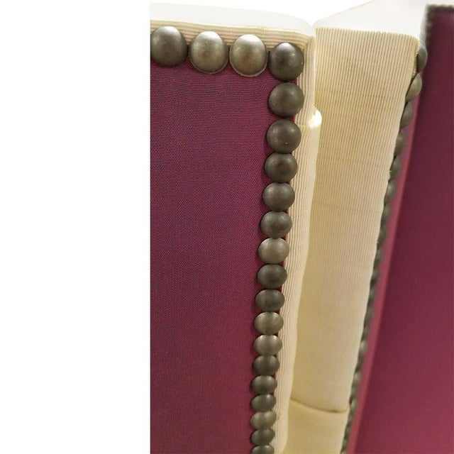 2010s John Saladino Four-Panel Fabric Folding Screen With Nailhead Detail For Sale - Image 5 of 8