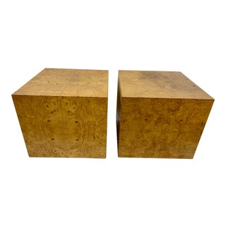 Vintage Burlwood Cube Tables in the Manner of Milo Baughman - a Pair For Sale